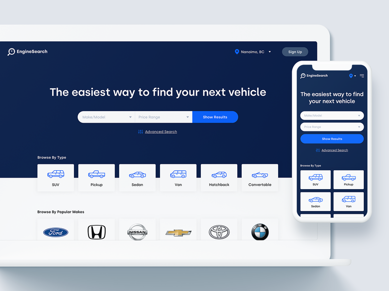 EngineSearch Homepage search automobile cars icons mobile design mobile ui responsive design homepage ui