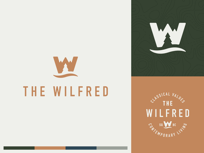 The Wilfred Branding typography illustration mark symbol icon ocean trees mountains negative space logo negative space branding logo
