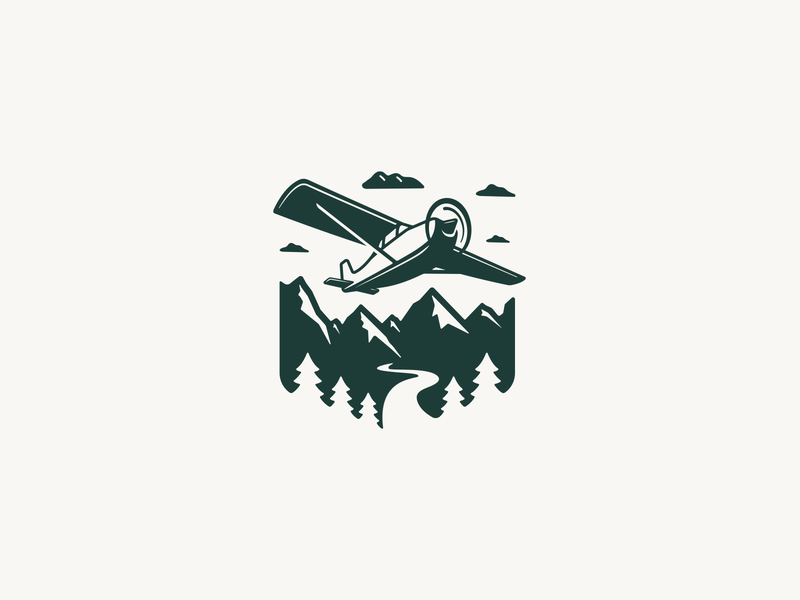 Airplanes illustration logo design aviation flight flying fixed wing trees mountains prop plane airplane badge logo