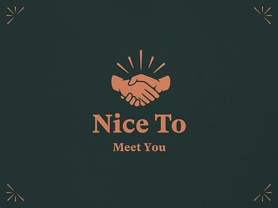 🤝 Nice To Meet You mark typography vector symbol illustration branding logo handshake logo handshake
