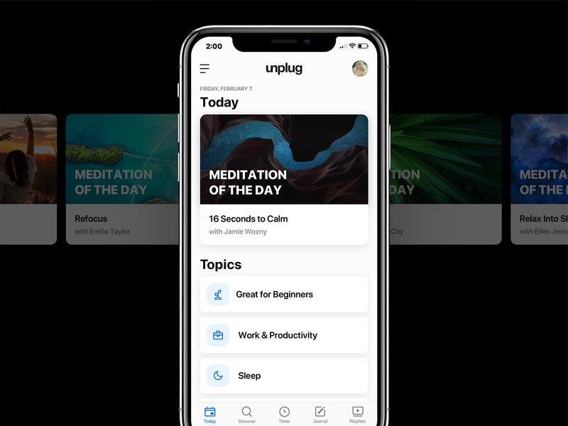 Unplug - Home Screen Update icons meditation app meditation minimal clean ui design ui apple app design app