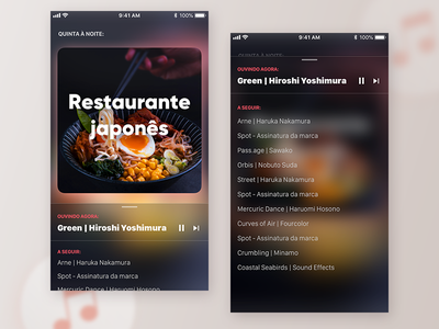 Ambient Music Player App playlist track list song player music dark ios ux design ui product mobile interaction app
