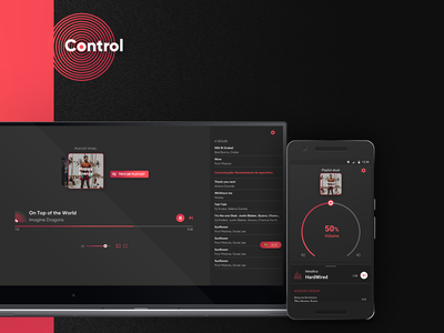 Control - Desktop and Android app flat web logo list song branding illustration android player music motion dark ios ux design ui product mobile interaction app