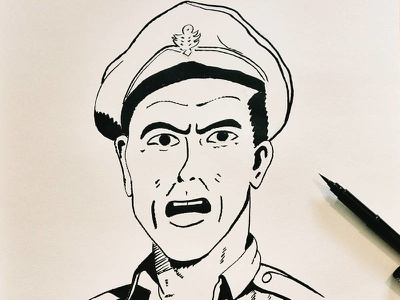 Agitated Lieutenant pen white black retro sketch ink drawing