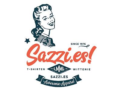Sazzi.es fashion brand logo flat swirl funky sixties 60s retro webshop fashion design logo