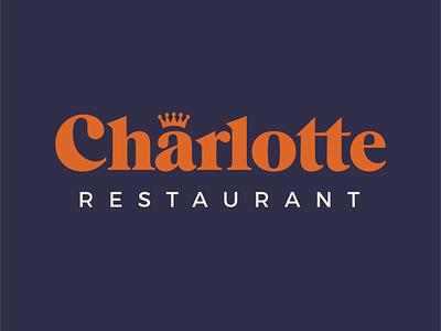 Logo Restaurant Charlotte colorscheme logos typogaphy bold navy blue navy copper colors branding logo