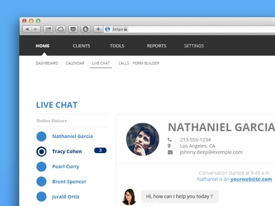 Livechat Console to chat in Real Time with Online Visitors