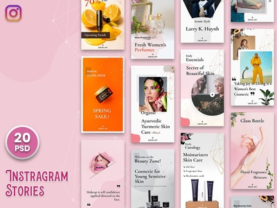 Beauty Cosmetic Instagram Stories-V01 socialmedia banner poster mockup products cosmetics beauty fashion instastories feeds stories instagram