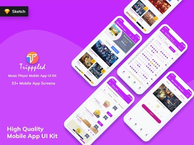 Tripppled - Movie Booking Mobile App UI Kit (Sketch)