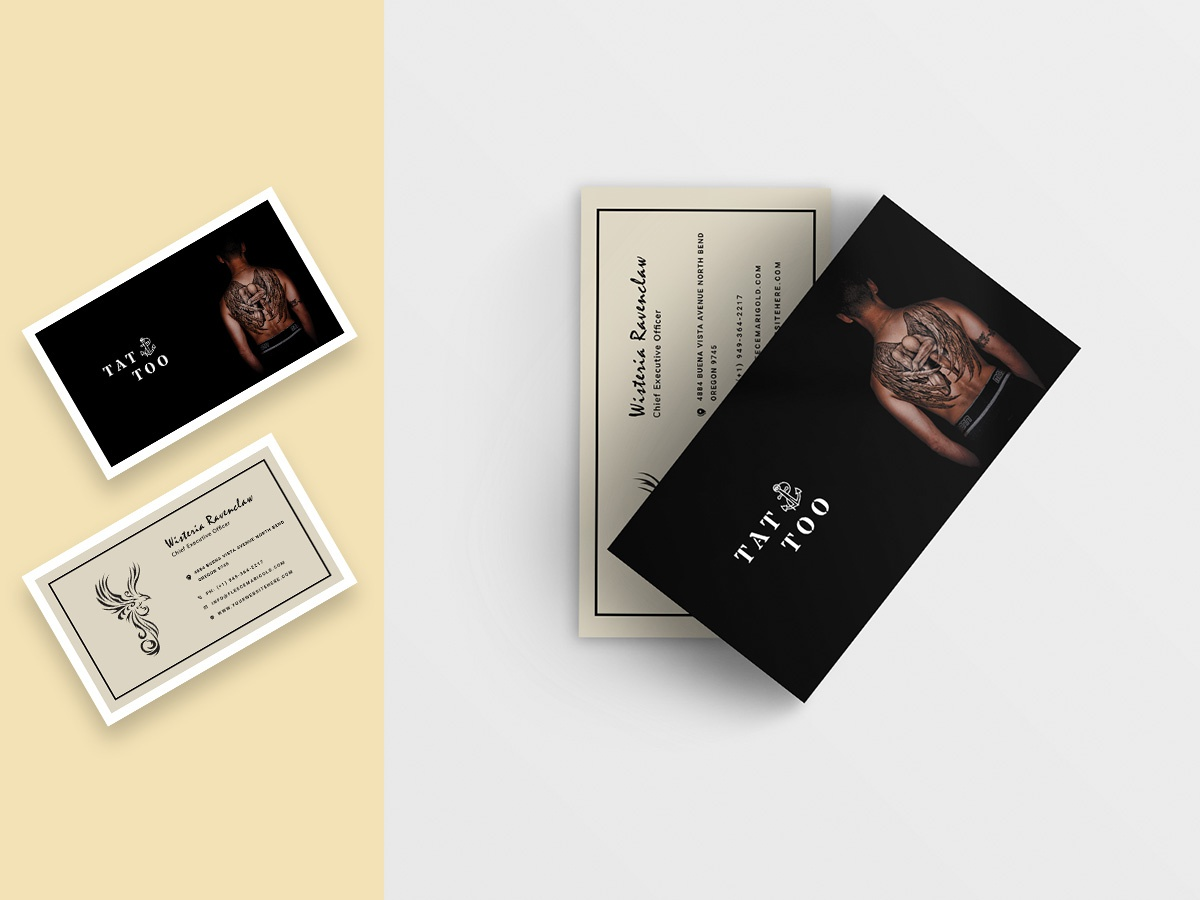 Tattoo Shop Business Card Template business unique vcard print branding company corporate template businesscard flyer poster minimal
