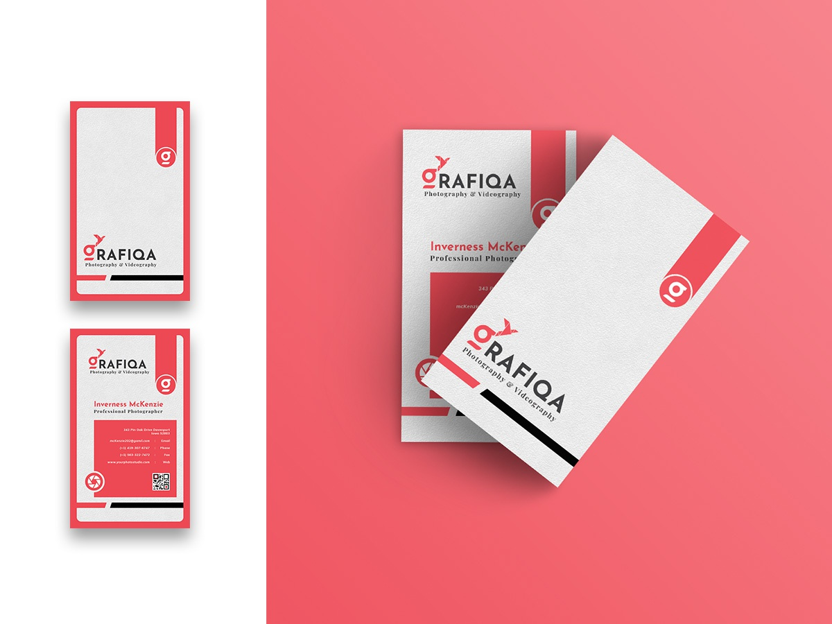 Photographer Business Card-Vertical business unique vcard print branding company corporate template businesscard flyer poster minimal