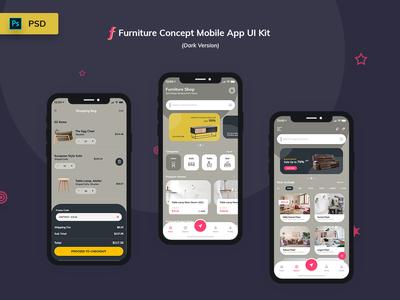 Furniture App UI Kit Dark Version