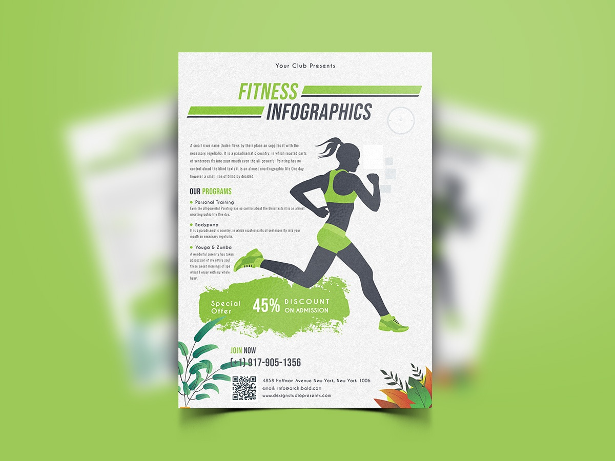 Fitness Flyer Template-02 excersize sport abstract flyer workout body health training poster gym fitness