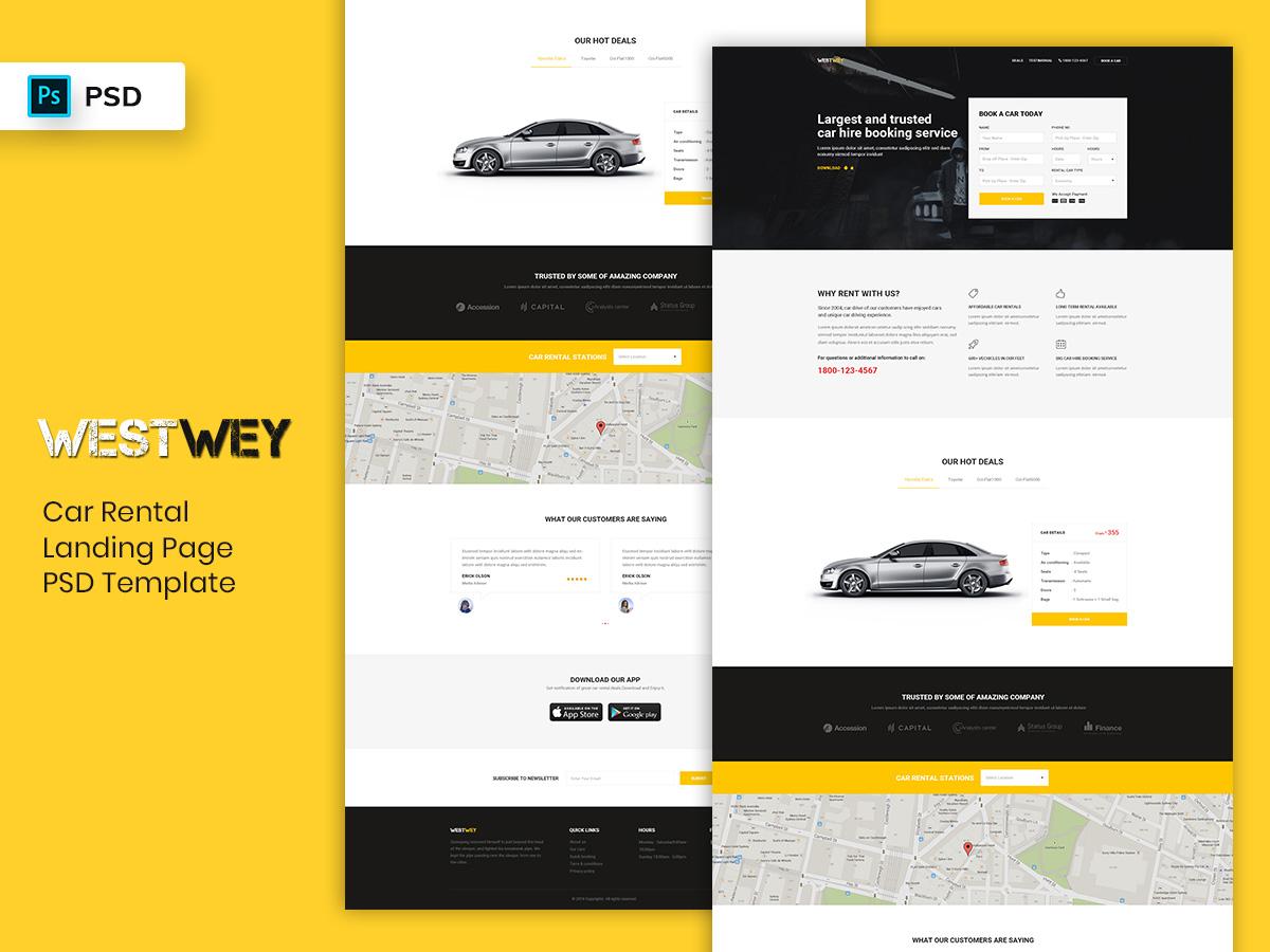 Car Rental Landing Page PSD Template psdtemplate promotional landingpage page landing dashboard webdesign mobileapp rental car
