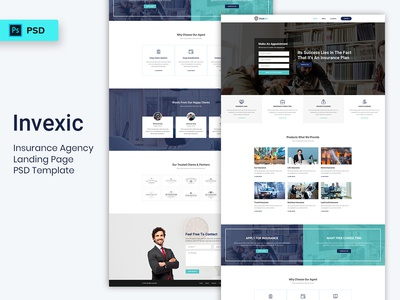 Insurance Agency Landing Page PSD Template