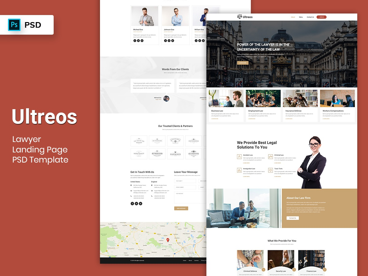 Lawyer Landing Page PSD Template psdtemplate promotional landingpage page landing dashboard webdesign service law attorney lawyer