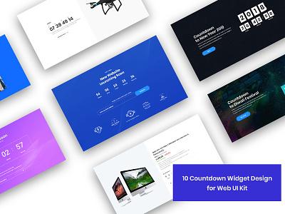 10 Countdown Widget Design for Web-UI Kit website webdesign landingpage uidesign uikit psdtemplate widgets elements uicomponents counting underconstruction countdowns