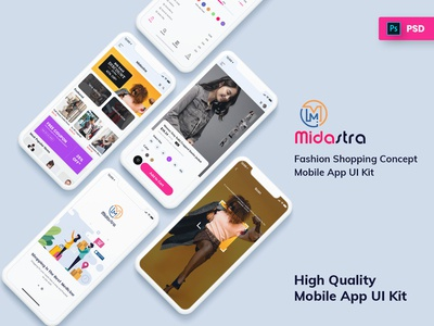 Midastra-Fashion Shopping Mobile App UI kit Light
