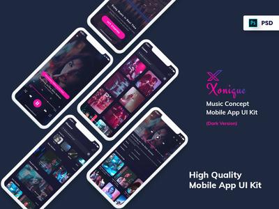 Xonique-Music Mobile App UI Kit Dark Version