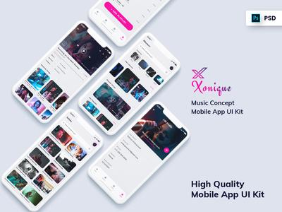 Xonique-Music Mobile App UI Kit Light Version