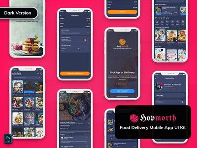 Hopmorth-Restaurant Mobile App UI Kit Dark