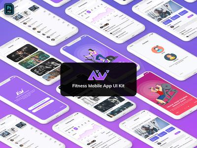Amerivex-Fitness Mobile App Template UI Kit Light Version