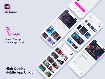 Xonique-Music Mobile App UI Kit Light Version (XD)