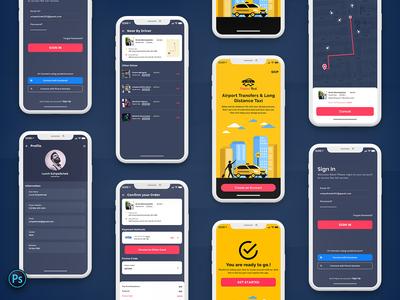 Taxi Booking Mobile App UI Kit Dark Version