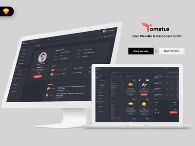 Tomatus-Restaurant User Website & Dashboard UI (SKETCH) management webapp uidesign uikit dashboard admin market ui admindashboard sales hotel restaurant