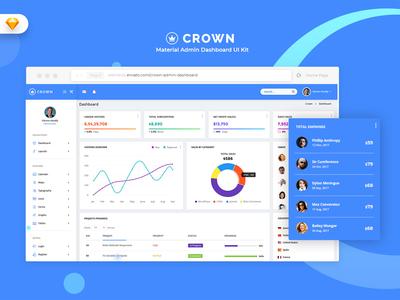 Crown - Material Admin Dashboard (SKETCH) landingpage management webapp uidesign uikit dashboard admin market ui admindashboard sales material