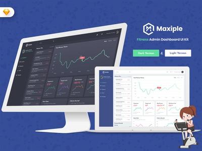 Maxiple - Fitness Admin Dashboard UI Kit (SKETCH) webapp uidesign uikit dashboard admin market ui admindashboard sales material gym fitness