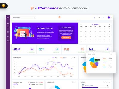 Promotial - ECommerce Admin Dashboard UI Kit (SKETCH) management webapp uidesign uikit dashboard admin market ui admindashboard sales material ecommerce