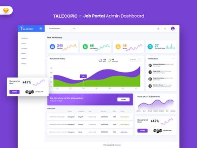 Talecopic - Job Portal Admin Dashboard UI Kit (SKETCH) webapp uidesign uikit dashboard admin market ui admindashboard sales material job jobportal