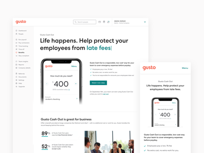 Gusto Cash Out landing page activation feature mobile web landing page design landing page ui benefits value prop infographic product page small business hr banking bank consumer savings financial employee fintech finance landing page