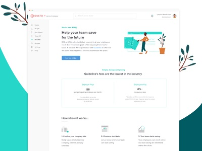 401(k) Landing Page finance benefits clean illustration landing pricing web feature hr gusto landing page ui