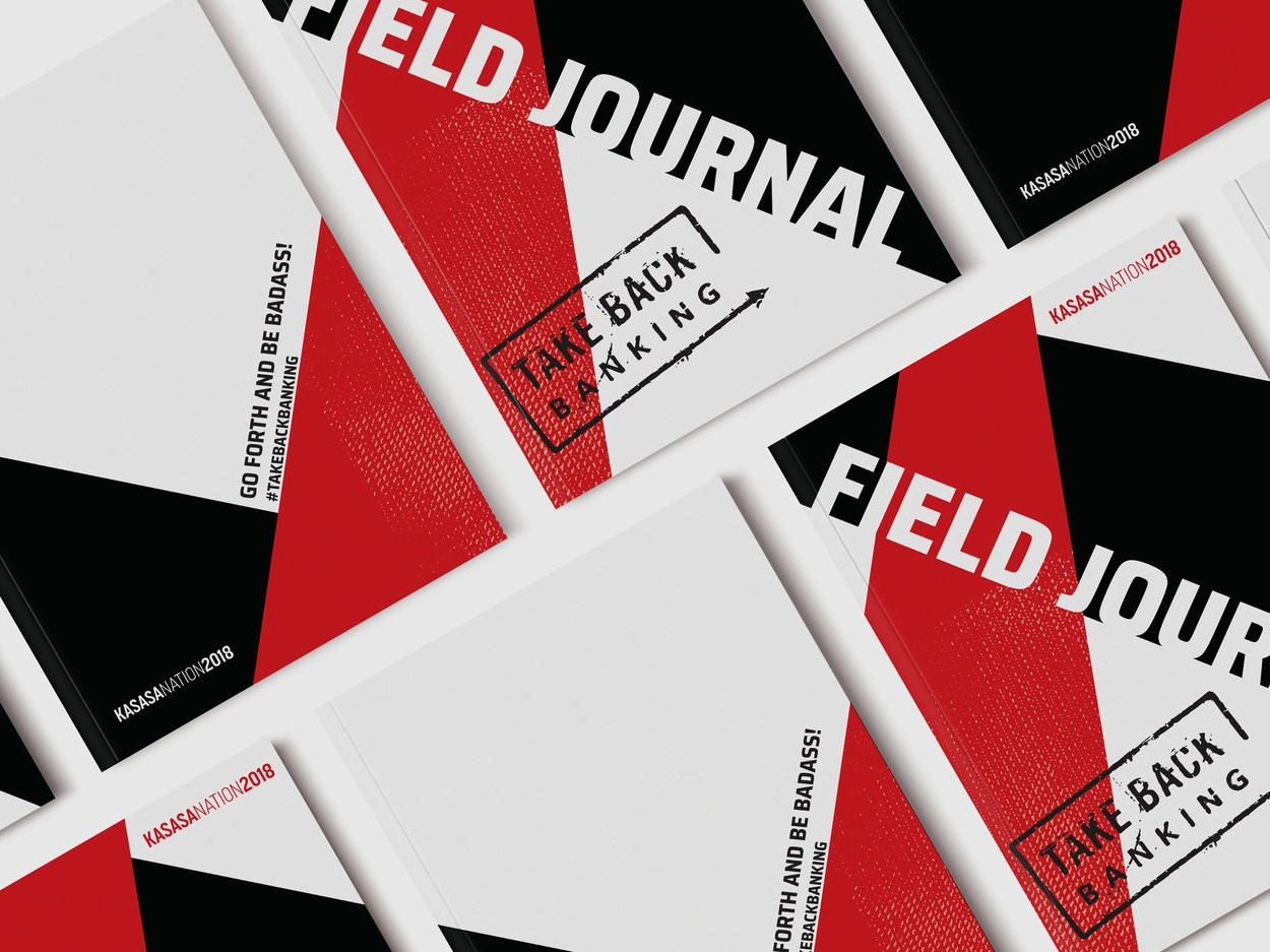 Kasasa Nation Field Journal print design print conference banking back take angles black red kasasa design journal