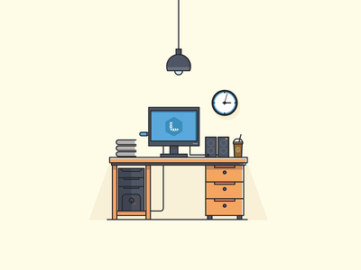 Workspace clock workspace table pc lamp illustration filled computer coffee books