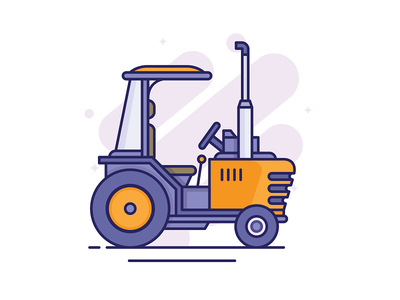 Tractor elements web delivery agriculture tractor vehicle heavy flatline flatdesign icon illustration