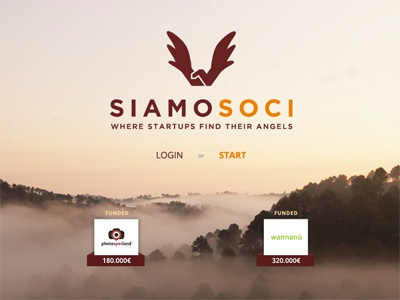Homepage of Siamosoci one page homepage mountain startup angel crowdfunding progress bar clean website