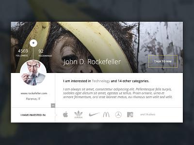 Business angel clean design website ui user overlay detail profile follow business angel