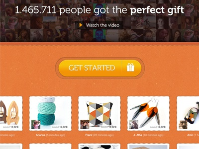 Giftbl Homepage Redesign website web design gifts button thumbs orange