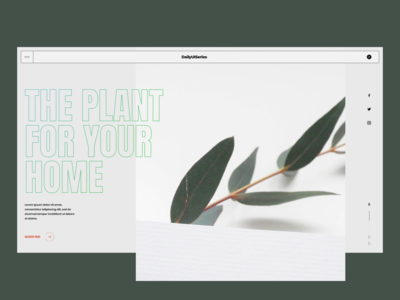 Daily UI series::009 plant store banner ui challenge daily ui challenge dailyui gallery slide hero header grid clean ui typo typography layout concept minimal creative
