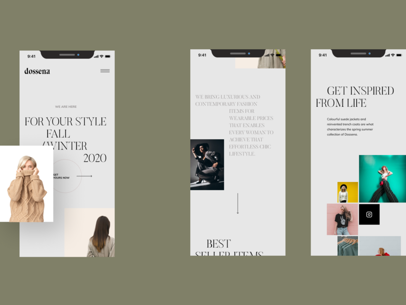 Dossena - Mobile first fashion website ecommerce hero header grid clean ui typo typography layout concept minimal creative