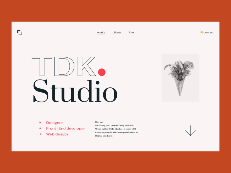 TDK Studio - Another concept case study portfolio showcase interaction design user inteface user interface dailyui minimalist simple agency hero header grid clean ui typo typography layout concept minimal creative