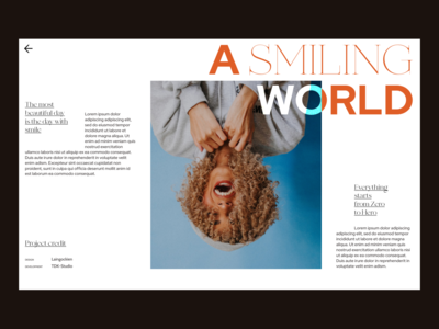 A Smiling World photography project case study portfolio web design user interface design userinterface dailyui hero header grid clean ui typo typography layout concept creative minimal