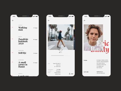 Photographer responsive mobile user interface design user interface dailyui contact profile menu navigation scroll gallery hero header grid clean ui typography layout concept creative minimal