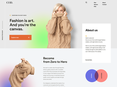 COD daily inspiration ecommerce daily ui background art layout minimal typography navigation minimalist grid hero header gradient creative concept clean circle blend banner background