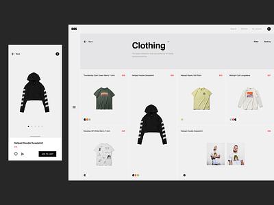Minimal store hero header filter store responsive shopping sidebar minimalist dailyui ecommerce typography clean grid layout concept creative minimal