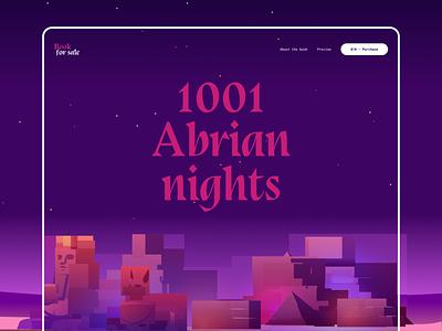 1001 Arabian nights - Hero Header background dailyui graphic daily ui user inteface web design responsive cta color palette night dark mode color illustration grid hero header typography layout concept creative minimal