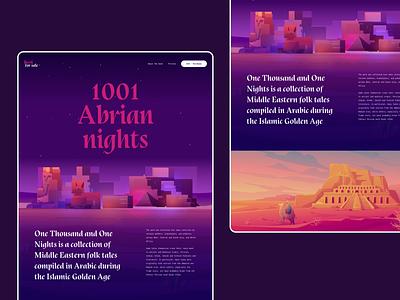 1001 Arabian nights color palette cta responsive webdesign userinterface daily ui graphic illustraion dailyui minimal creative background grid hero header typography layout concept dark mode night color